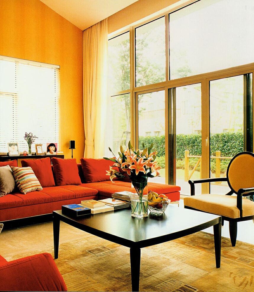 ,299平,100万,美式,别墅,客厅,黄色,