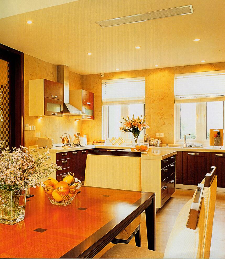 美式田园开放式厨房,299平,100万,美式,别墅,厨房,黄色,