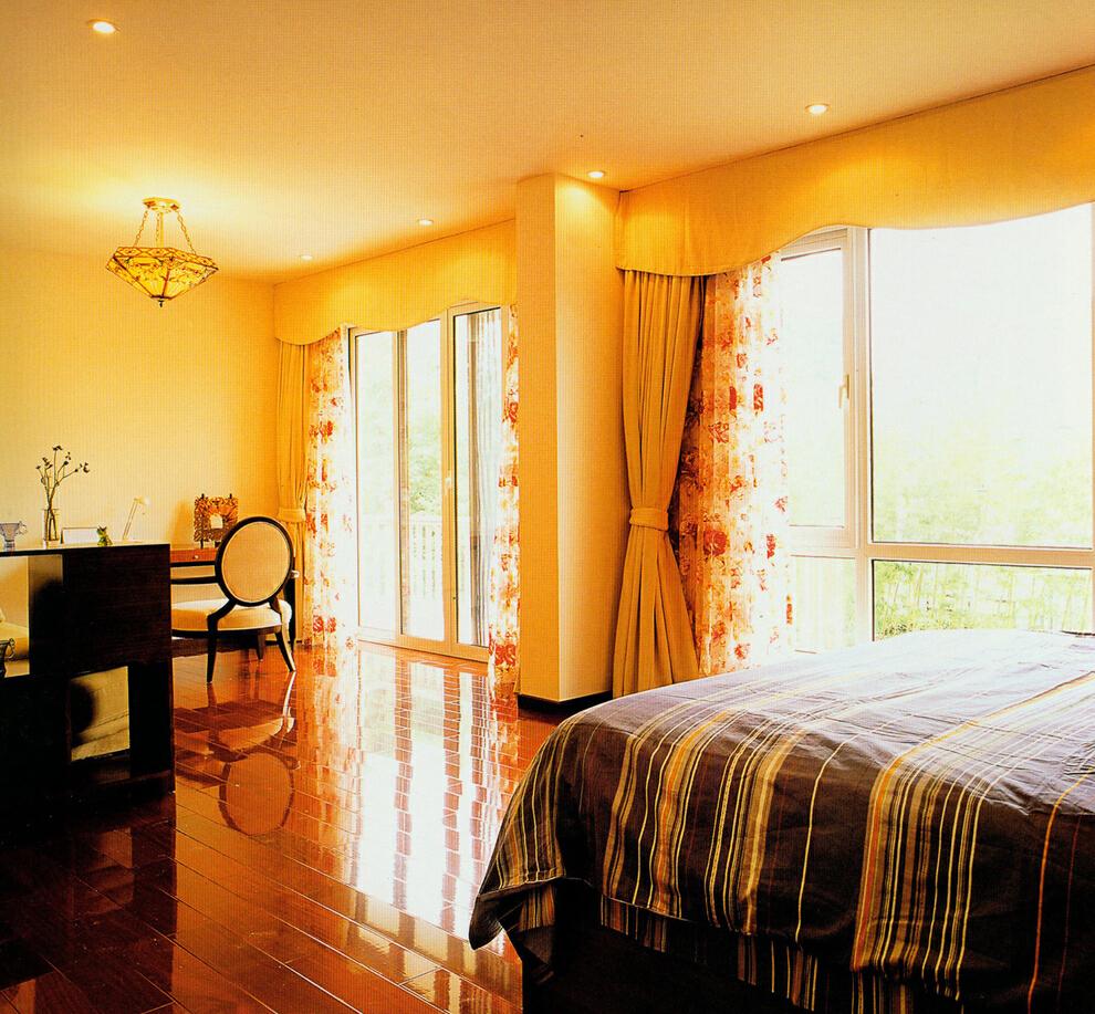 ,299平,100万,美式,别墅,卧室,黄色,