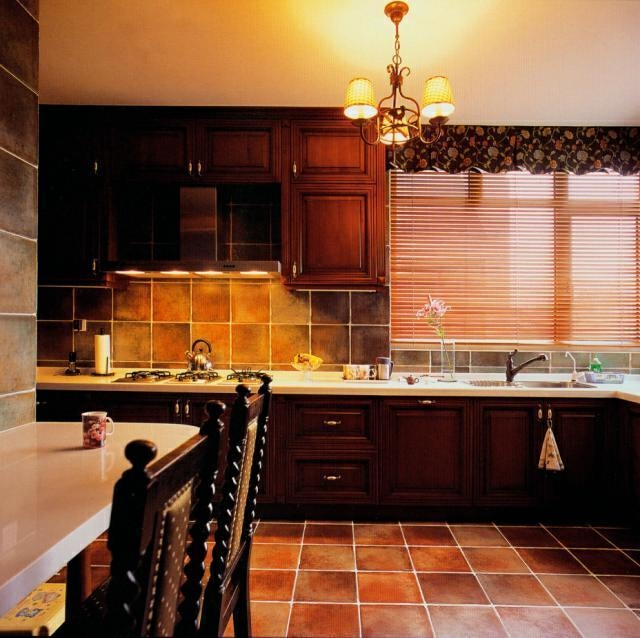 ,厨房,155万,原木色,中式,别墅,409平,