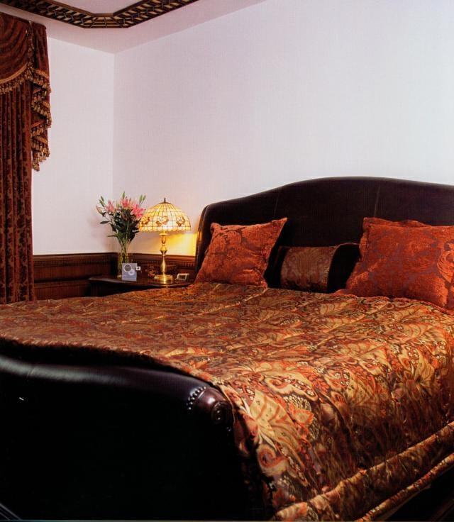 ,卧室,别墅,155万,中式,409平,原木色,