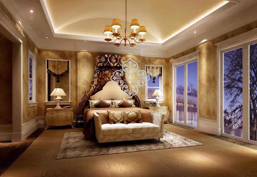 ,卧室,别墅,效果图,欧式,110万,301平,