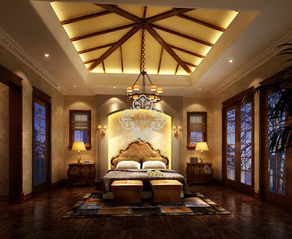 ,欧式,卧室,301平,别墅,110万,效果图,