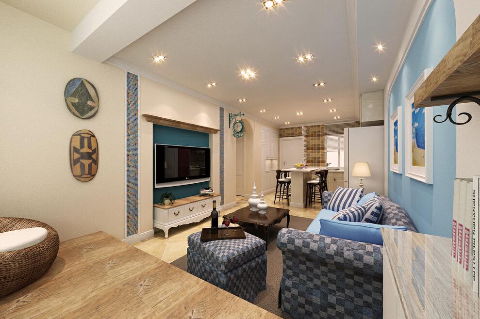小阳台的复古色的榻榻米增加室内情趣。,客厅,地中海,蓝色,一居,50平,10万,效果图,