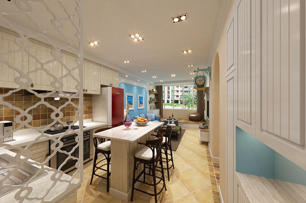 开放式厨房与地面墙面的交相辉映,呈现出清闲雅致的生活,50平,效果图,蓝色,餐厅,一居,地中海,10万,