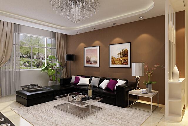 纯色的抱枕纯色的沙发纯色的壁纸,简单空间就是足够的留白,更自由、更能释放。,现代风格,效果图,石家庄元洲装饰,最好的装修公司,