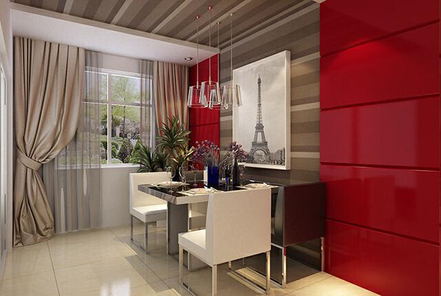 餐厅是家的心脏,对这样的餐厅有无限满足。不论是什么颜色,是纯色就叫人感觉很整齐干净。亮面材质的应用让餐厅看上去更洁净无尘。热情的红色配上古老巴黎铁塔是经典的法式浪漫。每天都是情人节~,效果图,最好的装饰公司,石家庄元洲装饰,现代简约风格,