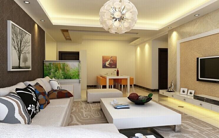 客厅的视觉中心就在电视背景墙上,电视背景墙就成了所有家装的重中之重,,9万,130平,现代,三居,效果图,