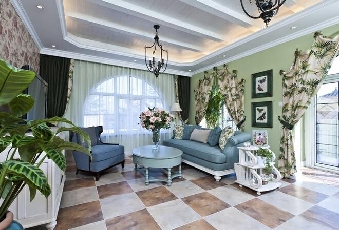 ,400平,80万,美式,别墅,客厅,