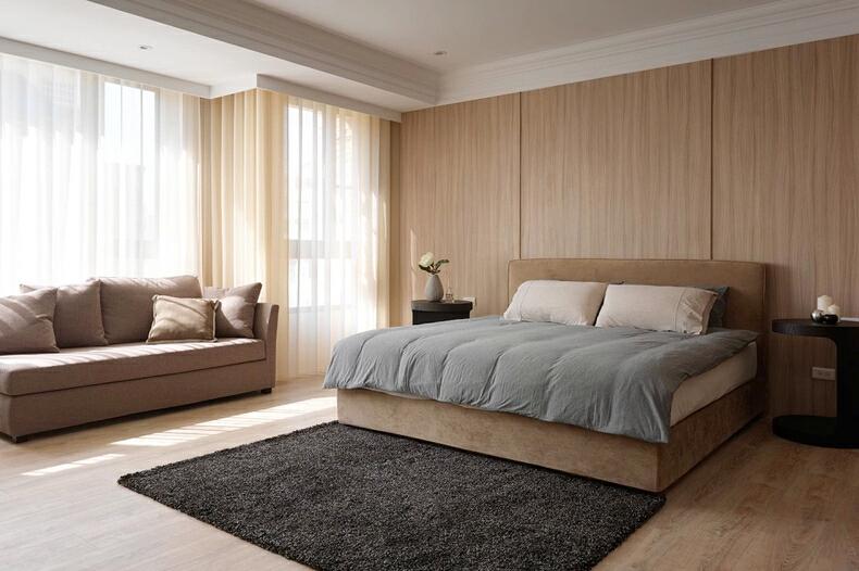 ,240平,10万,现代,四居,原木色,卧室,