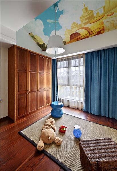 ,中式,儿童房,别墅,原木色,280平,150万,